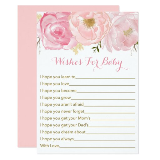 Soft Pink Floral Wishes For Baby Card