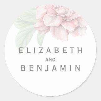 Soft Pink Flower Elegant White Wedding Classic Round Sticker