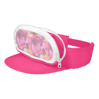 Soft Pink Flowers Neon Pink Cap-Sac Visor