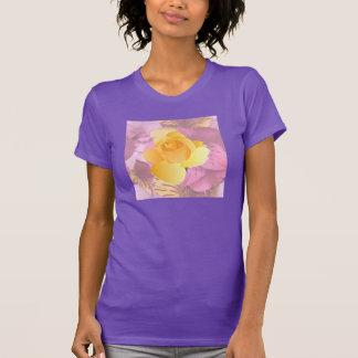 Soft Pink Flowers Yellow Rose Purple T-Shirt