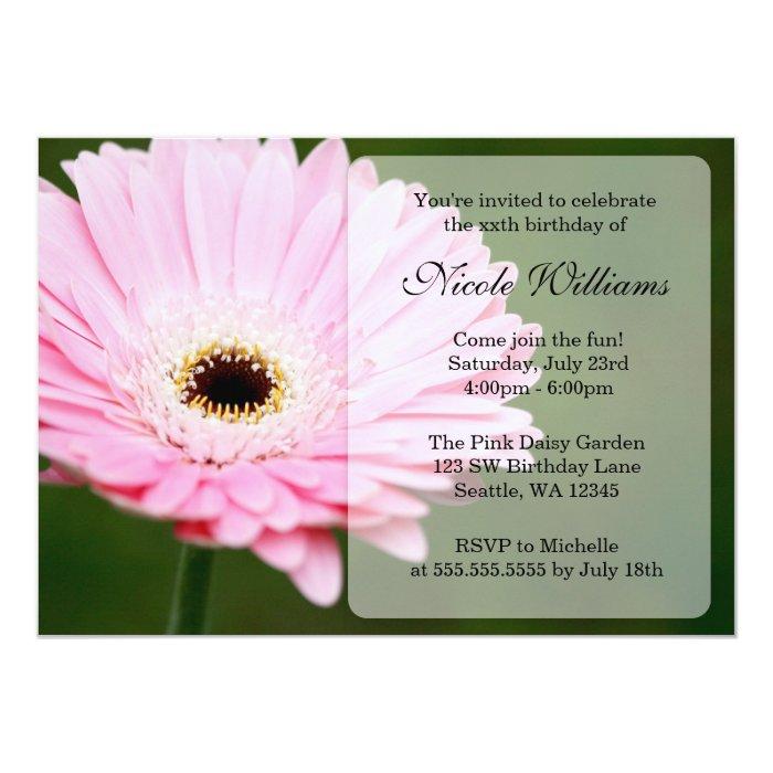 Soft Pink Gerbera Daisy Birthday Party Card