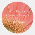 Soft Pink Gerbera Personal Library Sticker