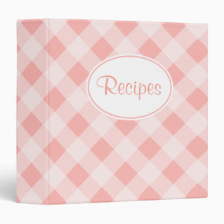 Soft Pink Gingham Recipe Binder
