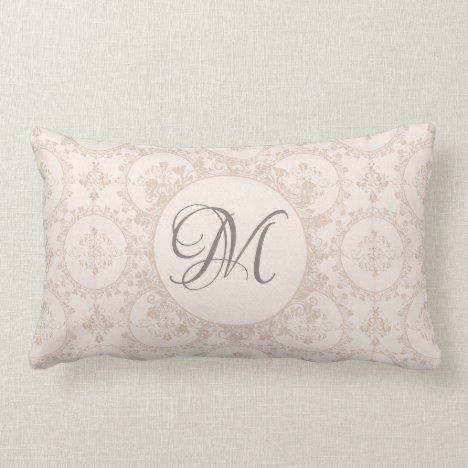 Soft Pink Girly Damask Initial Custom Lumbar Pillow