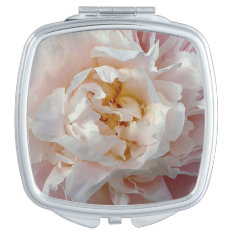 Soft Pink Girly Watercolor Peony Compact Mirror at Zazzle