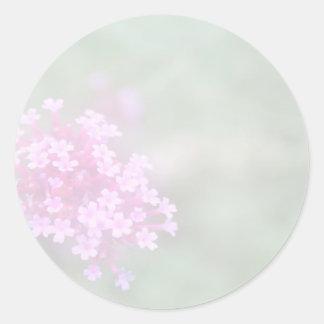 Soft Pink Green Floral Classic Round Sticker