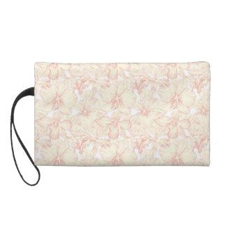 Soft Pink Hibiscus Custom Design Wristlet Purses