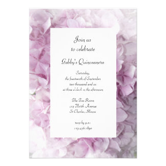 Soft Pink Hydrangea Quinceanera Party Invitation