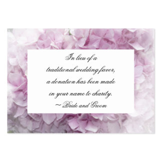 Soft Pink Hydrangea Wedding Charity Favor Card Business Cards