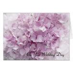 Soft Pink Hydrangea Wedding Day Card