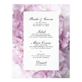 Soft Pink Hydrangea Wedding Menu