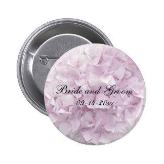 Soft Pink Hydrangea Wedding Pinback Button