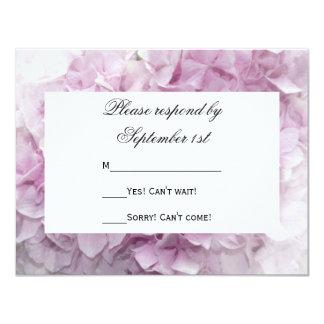 Soft Pink Hydrangea Wedding RSVP Response Card Custom Announcement