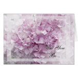 Soft Pink Hydrangea Will You Be My Bridesmaid Card
