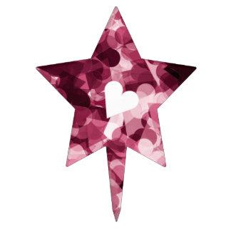 Soft Pink Kawaii Hearts Background Cake Topper