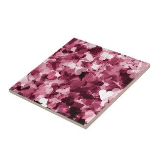 Soft Pink Kawaii Hearts Background Ceramic Tile