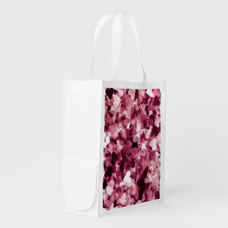Soft Pink Kawaii Hearts Background Grocery Bags