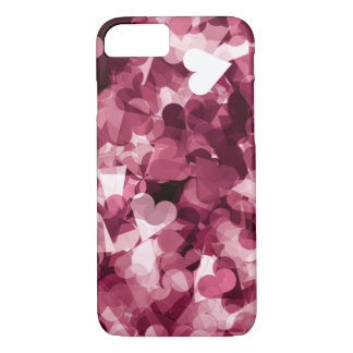 Soft Pink Kawaii Hearts Background iPhone 8/7 Case