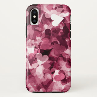 Soft Pink Kawaii Hearts Background iPhone X Case