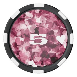 Soft Pink Kawaii Hearts Background Poker Chips Set