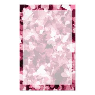 Soft Pink Kawaii Hearts Background Stationery