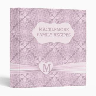 Soft Pink Lace Heart Recipe Binder