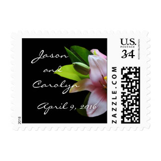 Soft Pink Lily-Postcard Stamp- customize Stamps