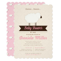 Soft Pink Little Lamb Baby Shower by Mail Invitation