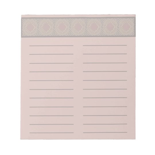 Soft Pink Notepad with Geometric Pattern lined