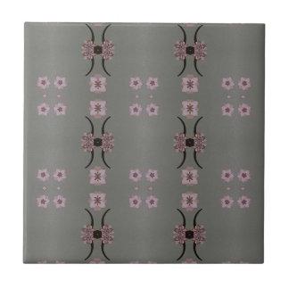 Soft Pink Pattern Gray Background Ceramic Tile