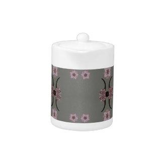 Soft Pink Pattern Gray Background Teapot
