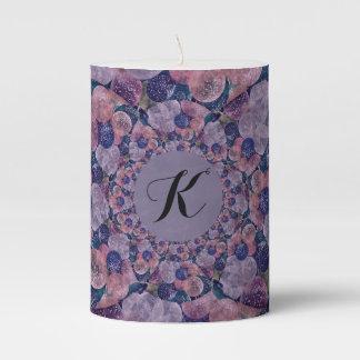 Soft Pink, Purple And Blue Kaleidoscope Balloons Pillar Candle