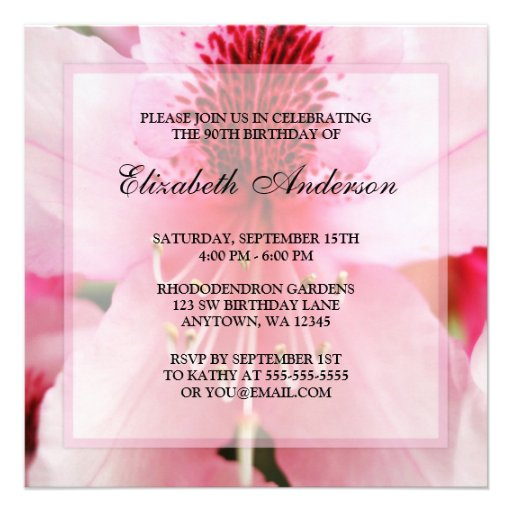 Soft Pink Rhododendron Flowers 90th Birthday Party Personalized Announcement