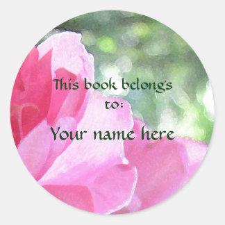 Soft Pink Rose Bookplate Round Sticker