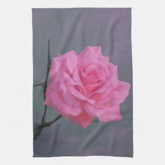 Soft Pink Rose Flower Hand Towel