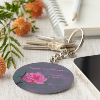 Soft Pink Rose Personalized Wedding Favor Key Ring Keychain