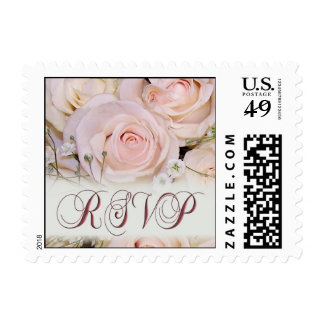 Soft pink rose RSVP Postage