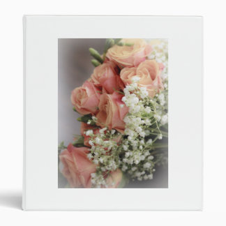 Soft Pink Roses and Baby's Breath 3 Ring Binder