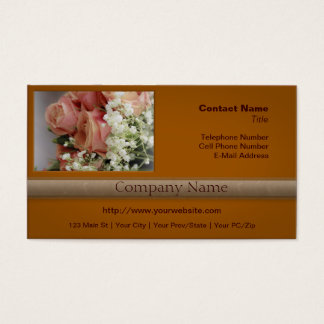 Soft Pink Roses and Baby's Breath Business Card