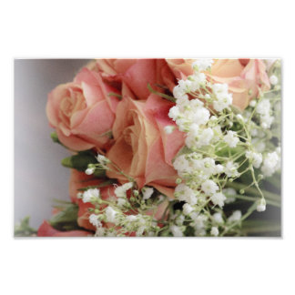 Soft Pink Roses and Baby's Breath Photo Print