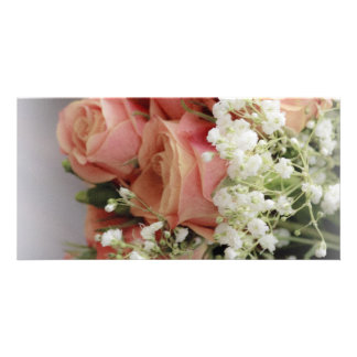 Soft Pink Roses and Baby's Breath Customized Photo Card