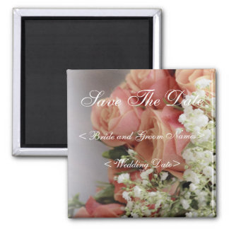 Soft Pink Roses and Baby's Breath Wedding Fridge Magnets