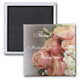 Soft Pink Roses and Baby's Breath Wedding Fridge Magnet