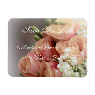 Soft Pink Roses and Baby's Breath Wedding Vinyl Magnets