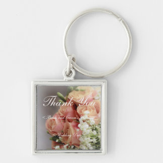 Soft Pink Roses and Baby's Breath Wedding Silver-Colored Square Keychain
