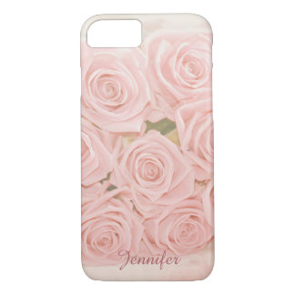 Soft pink roses and custom Name iPhone 8/7 Case