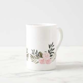 Soft Pink Roses and Silvery Leaves Bone China Mug