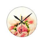 Soft Pink Roses ! Round Wallclocks