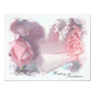 Soft Pink Roses Wedding Card