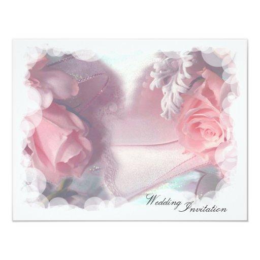 Soft Pink Roses Wedding 4.25x5.5 Paper Invitation Card